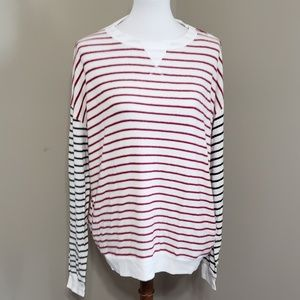 Striped contrast sleeves sweater